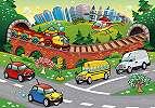 Fali poszter gyerekszobába színes kedves városi járművekkel