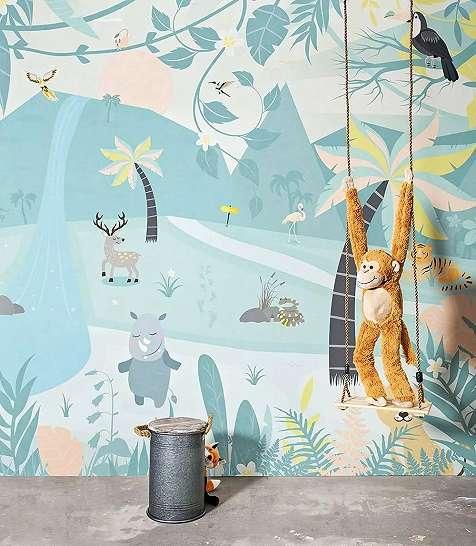Fali poszter gyerekszobába trópusi mintával, kedves állatfigurákkal