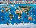 Fali poszter gyerekszobába világtérkép mintával