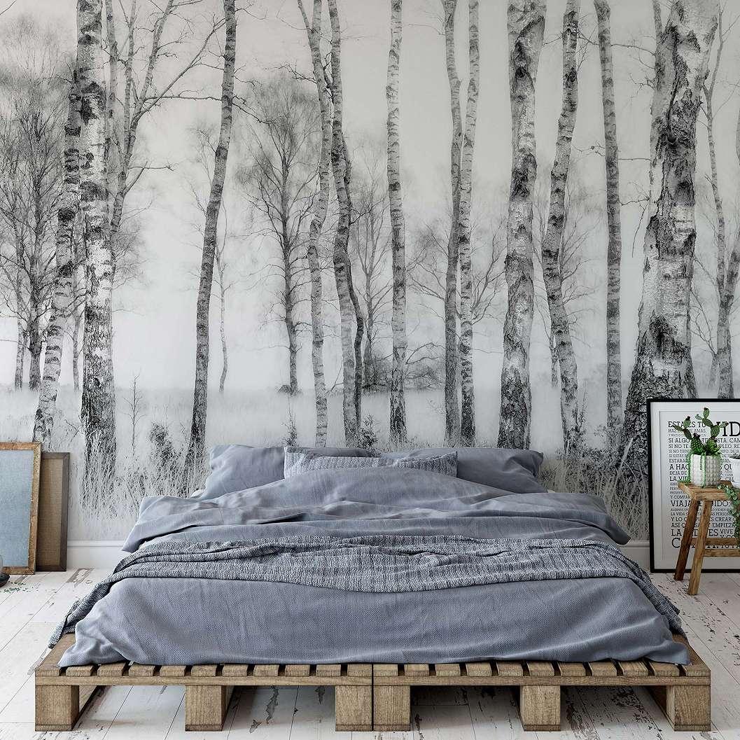 FAli poszter havas erdő mintával fekete fehér színvilágban