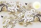 Fali poszter Japán stílusban cseresznyefa virág mintával