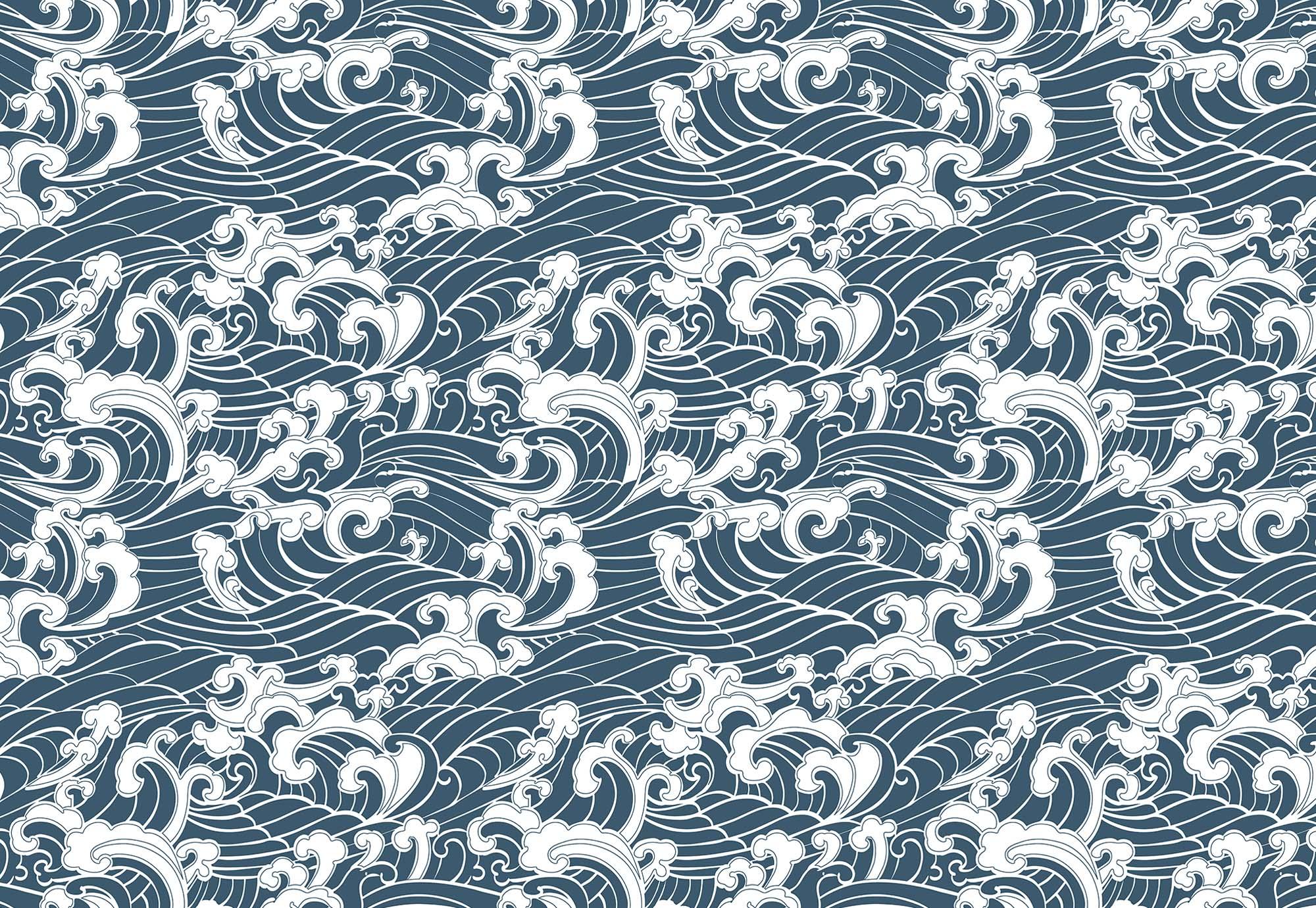 Fali poszter Japán stílusban hullám mintával