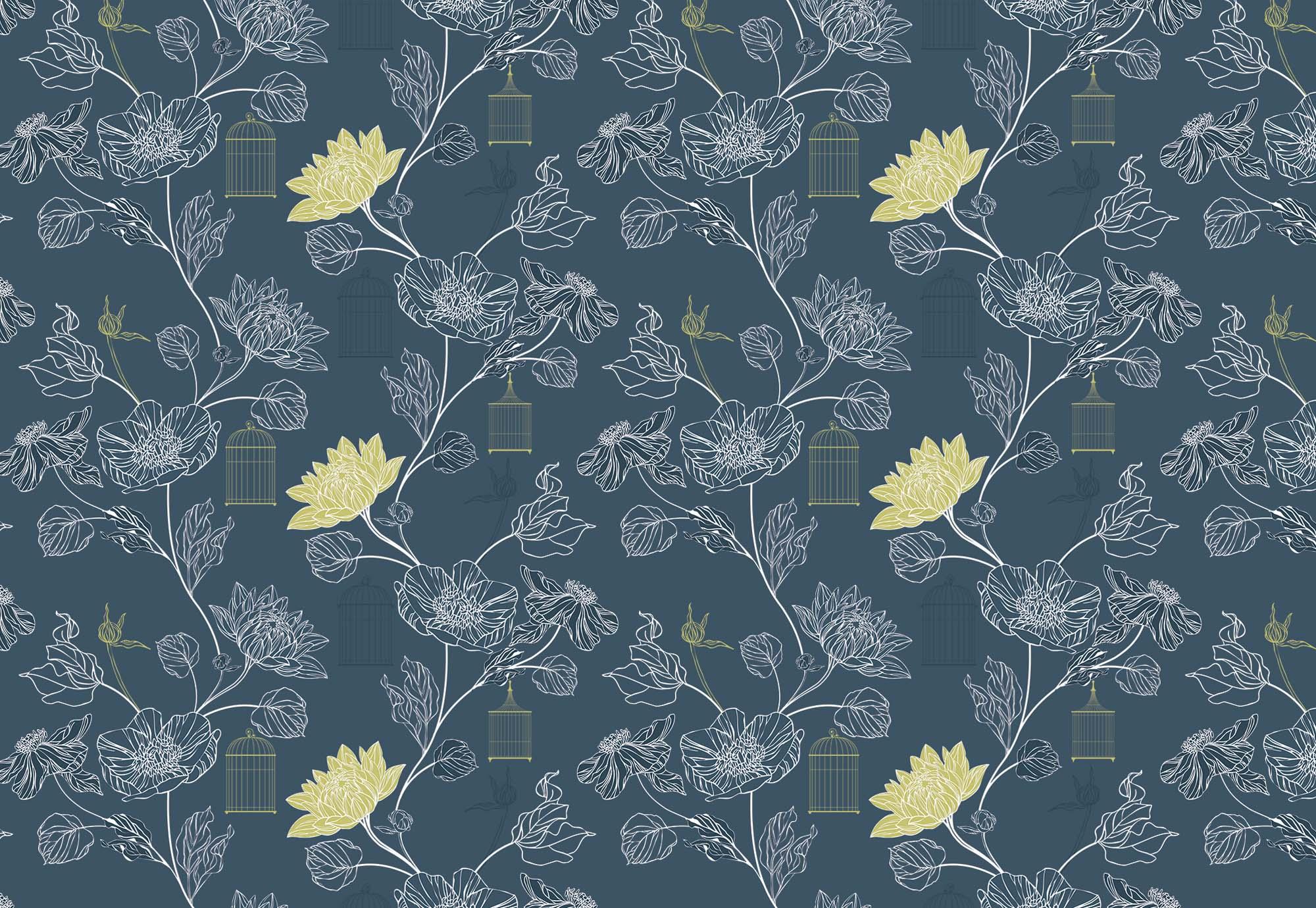 Fali poszter japán stílusban virág mintával
