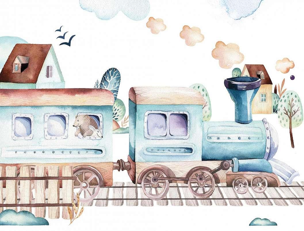 Fali poszter kedves vonat mintával gyerekszobába