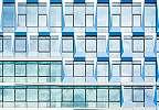 Fali poszter kék ablakokkal minimalista stílusban