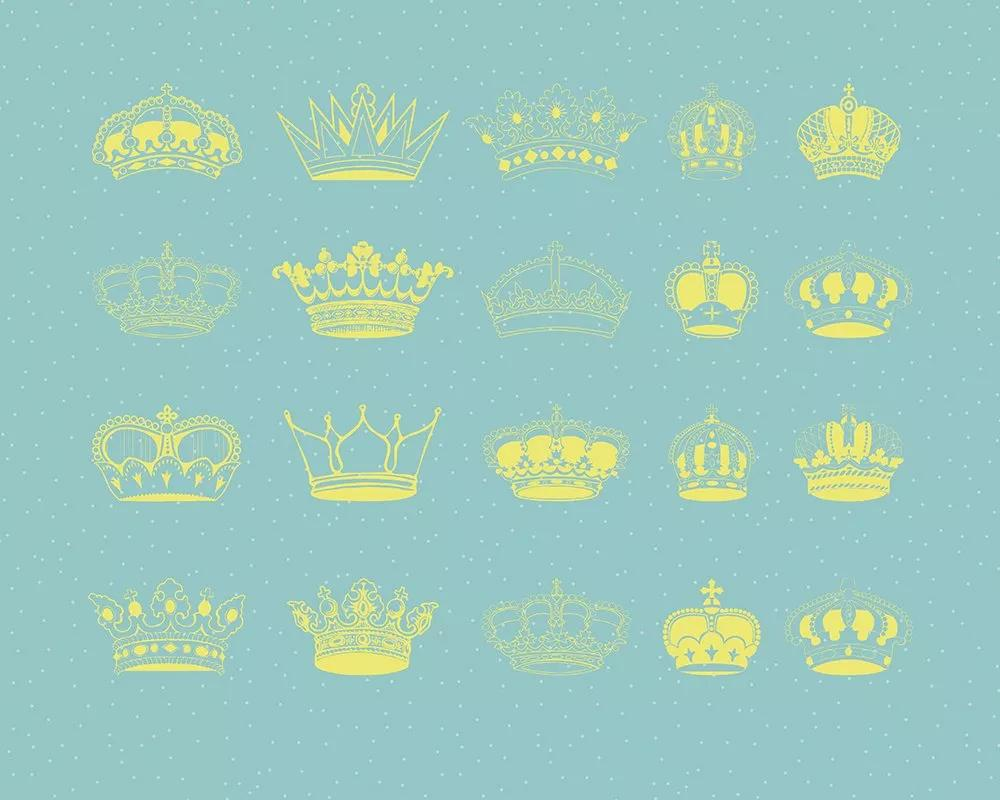 Fali poszter kék alapon korona mintákkal