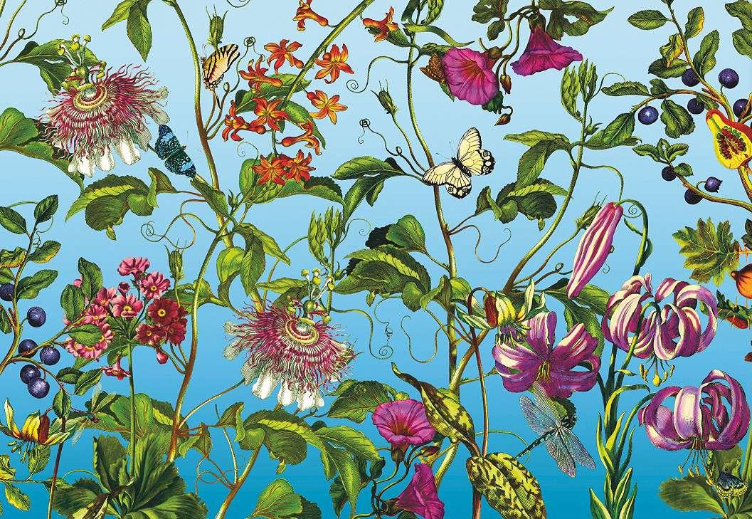 Fali poszter kék alapon színes virágmintával