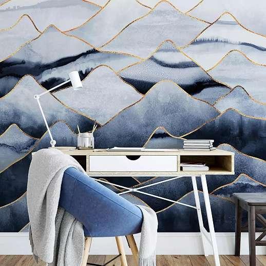 Fali poszter kék színben akvarell hatású hegyvonulatok mintával