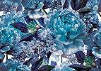 Fali poszter kék színvilágban rózsa mintával