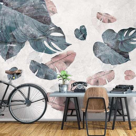 Fali poszter koptatott loft stílusban pálmalevél mintákkal