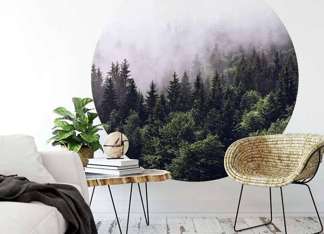 Fali poszter kör alakban ködös erdei táj mintával