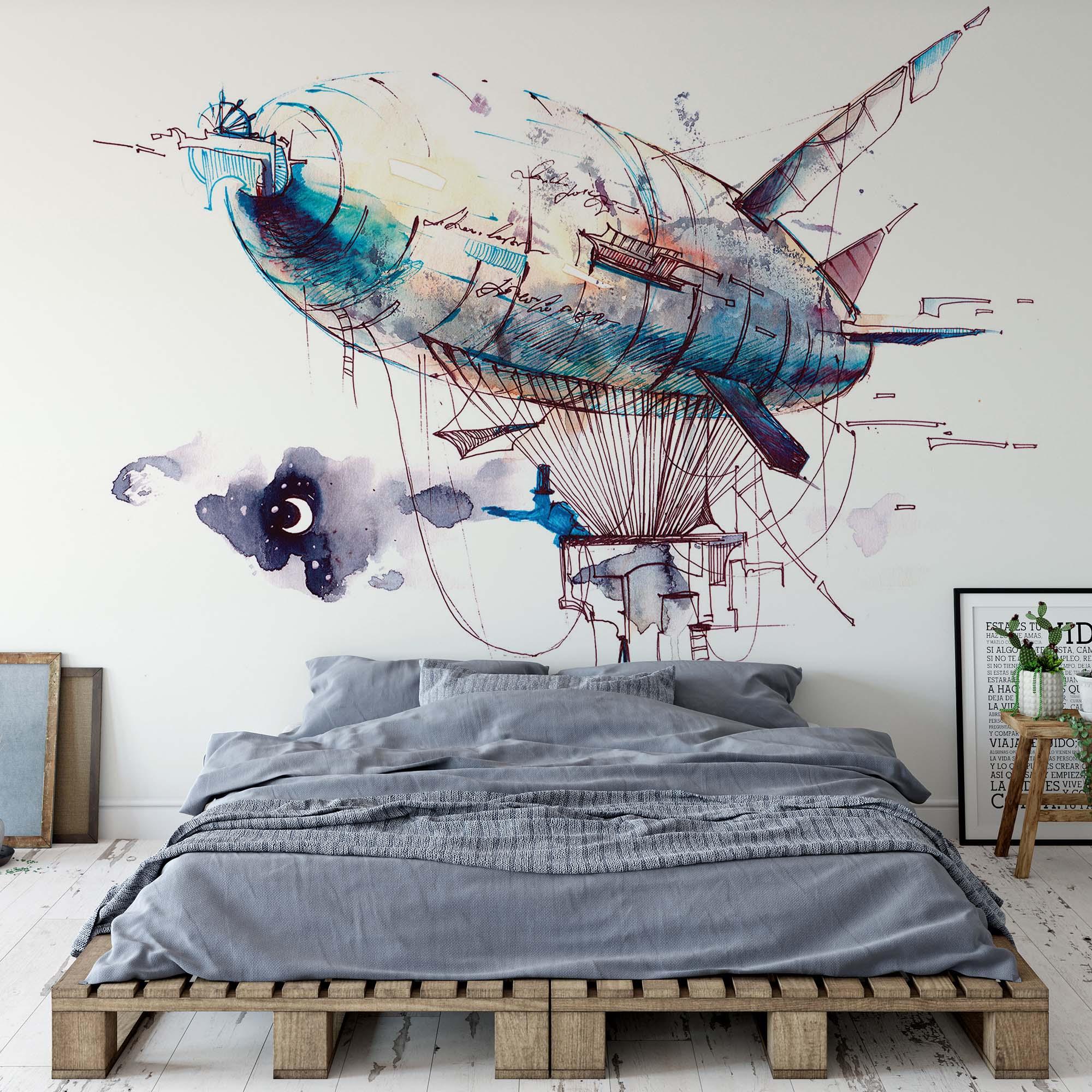 Fali poszter léghajó mintával