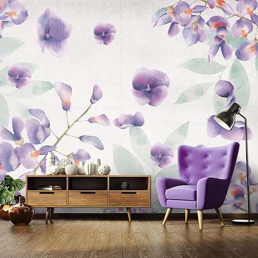 Fali poszter lila akvarell hatású virág mintával