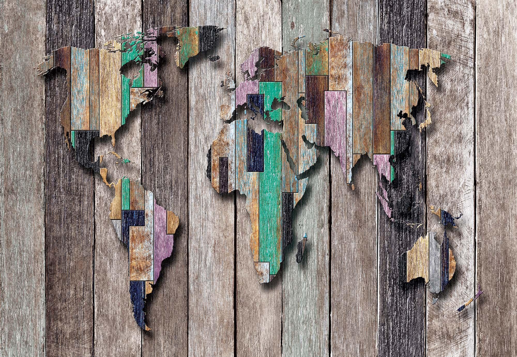 Fali poszter loft deszka mintás világtérkép mintával