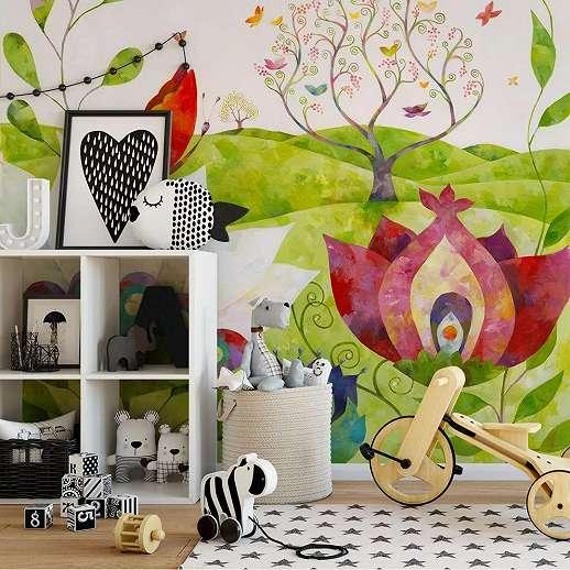 Fali poszter meseszerű rajzolt virágmintával