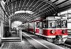 Fali poszter metro kocsi mintával loft hangulatú enteriőrbe