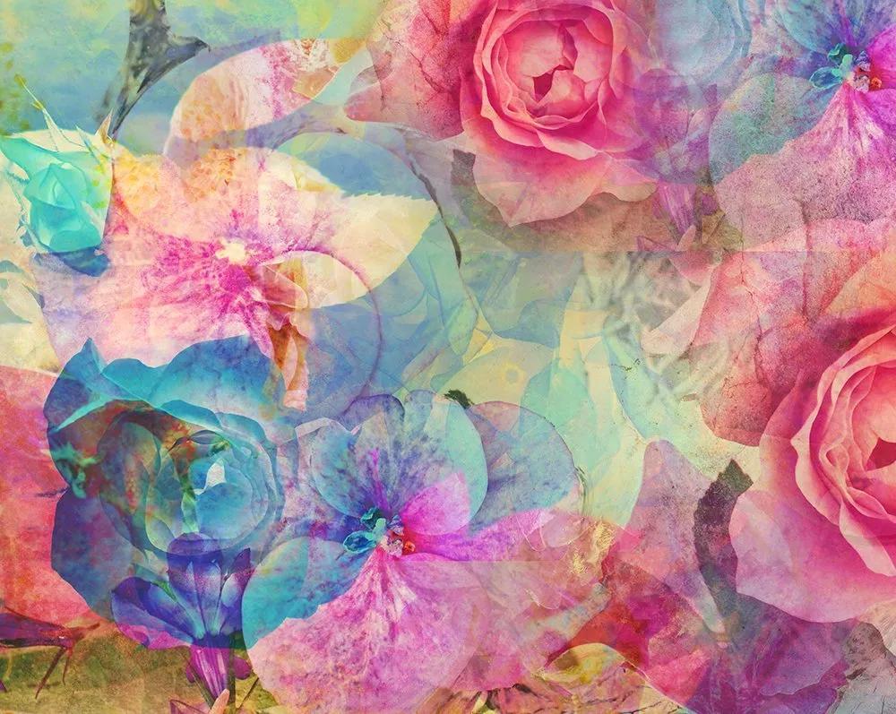 Fali poszter modern absztrakt virágmintával