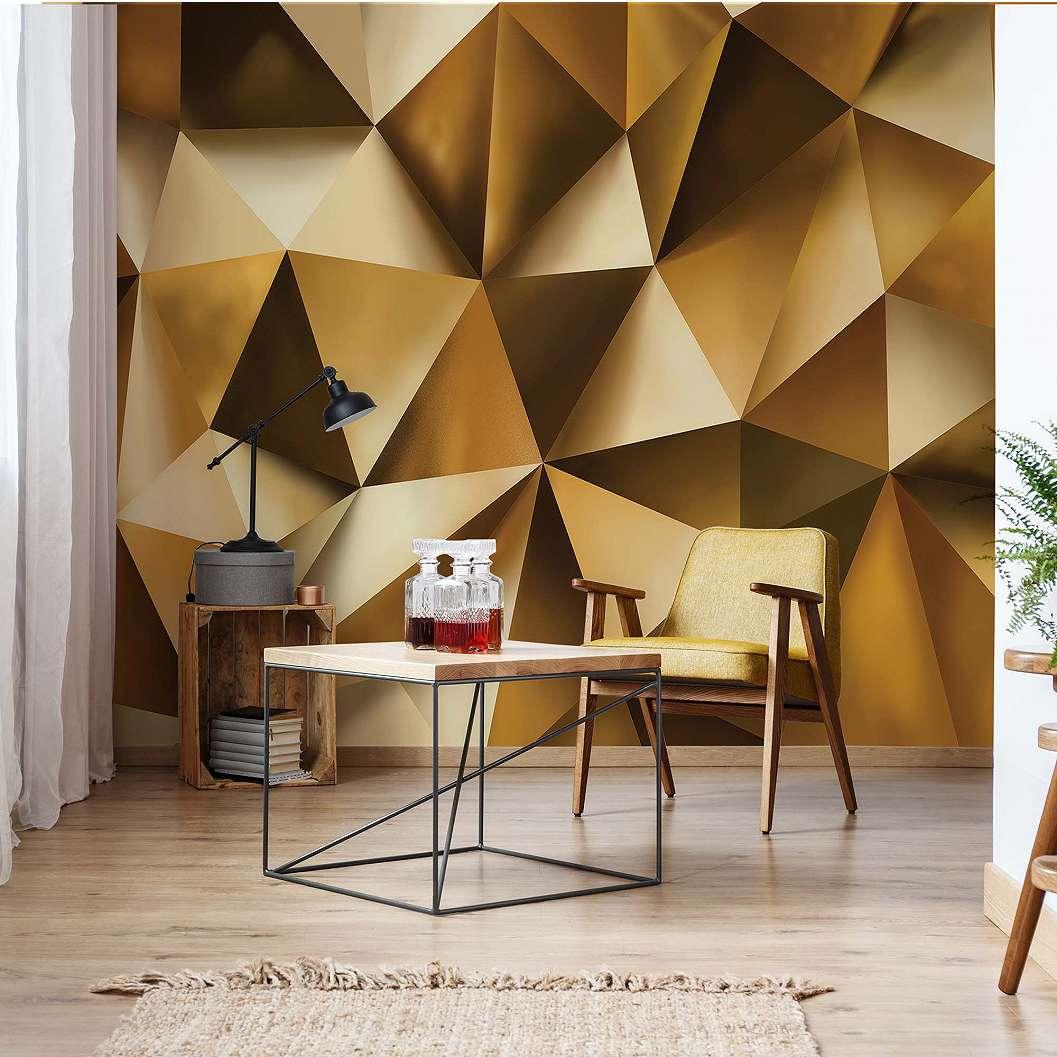 Fali poszter modern arany színű 3D poligon geomertiai mintás