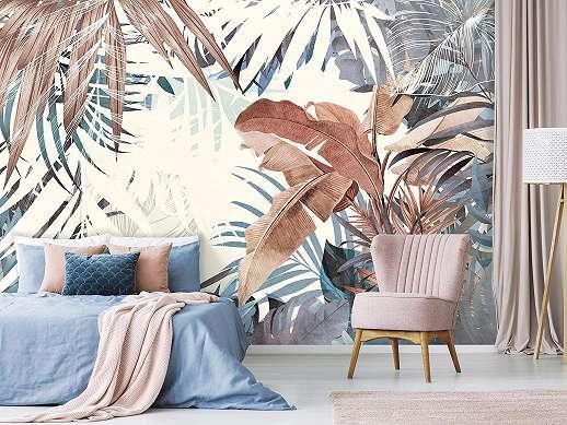 Fali poszter modern botanikai stílusban pálmalevél mintával
