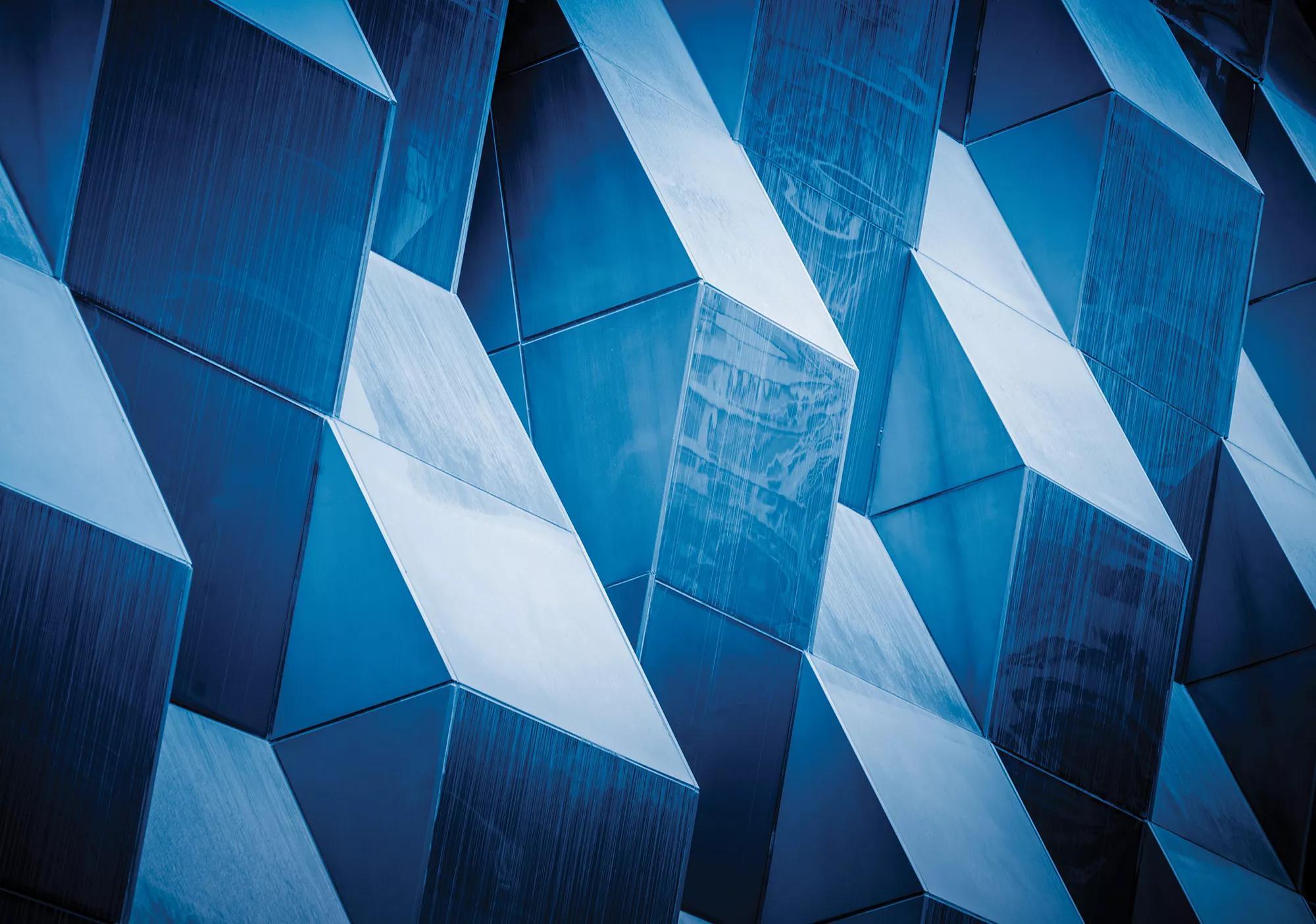 Fali poszter modern épület mintával kék színben