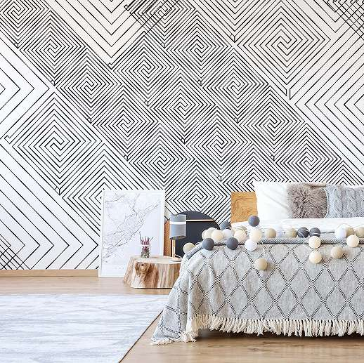 Fali poszter modern fekete fehér geometriai mintával