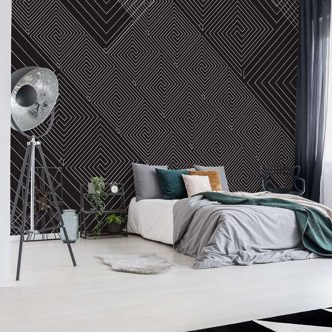 Fali poszter modern fekete szürke geometriai mintával