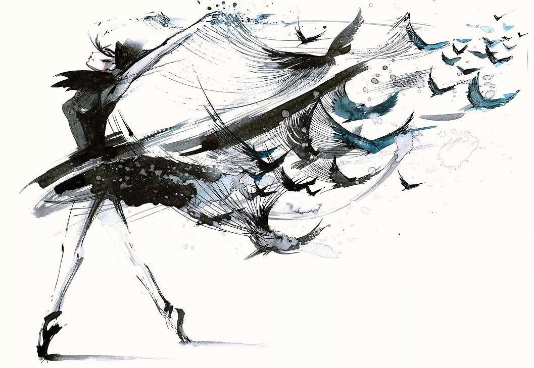 Fali poszter modern festett madár női alak mintával