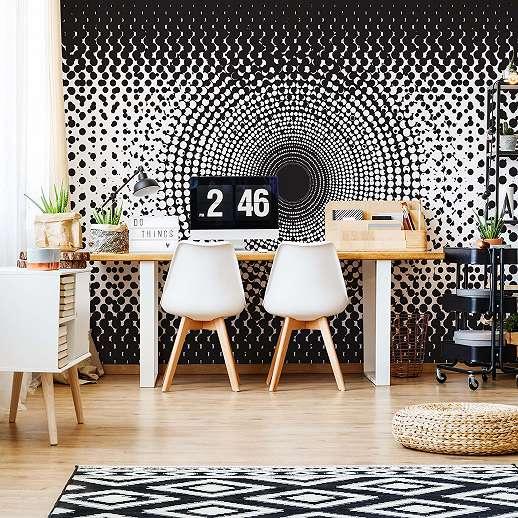 Fali poszter modern minimalista fekete-fehér színvilágban, kör mintával