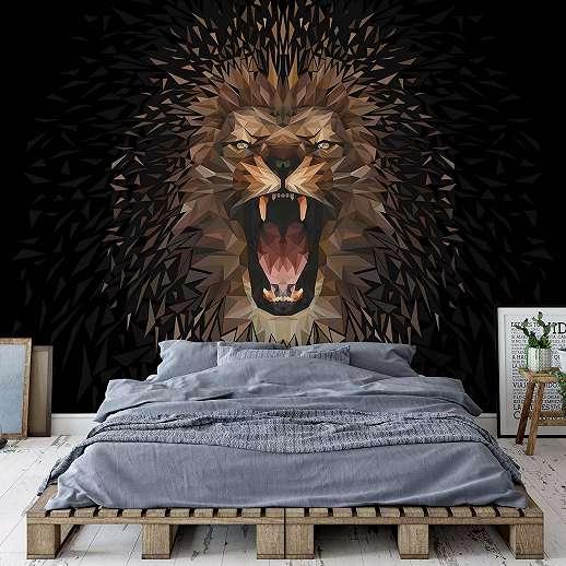 Fali poszter modern oroszlán mintával fekete alapon