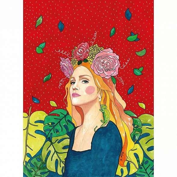 Fali poszter női portré mintával absztrakt stílusban