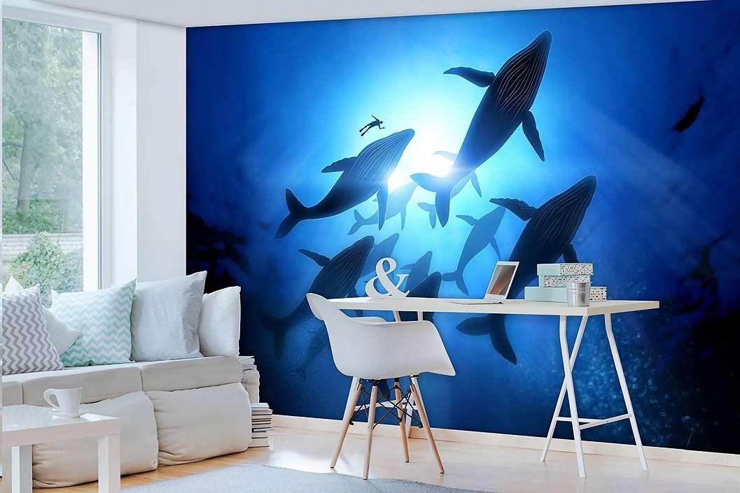 Fali poszter oceánban úszó bálnákkal