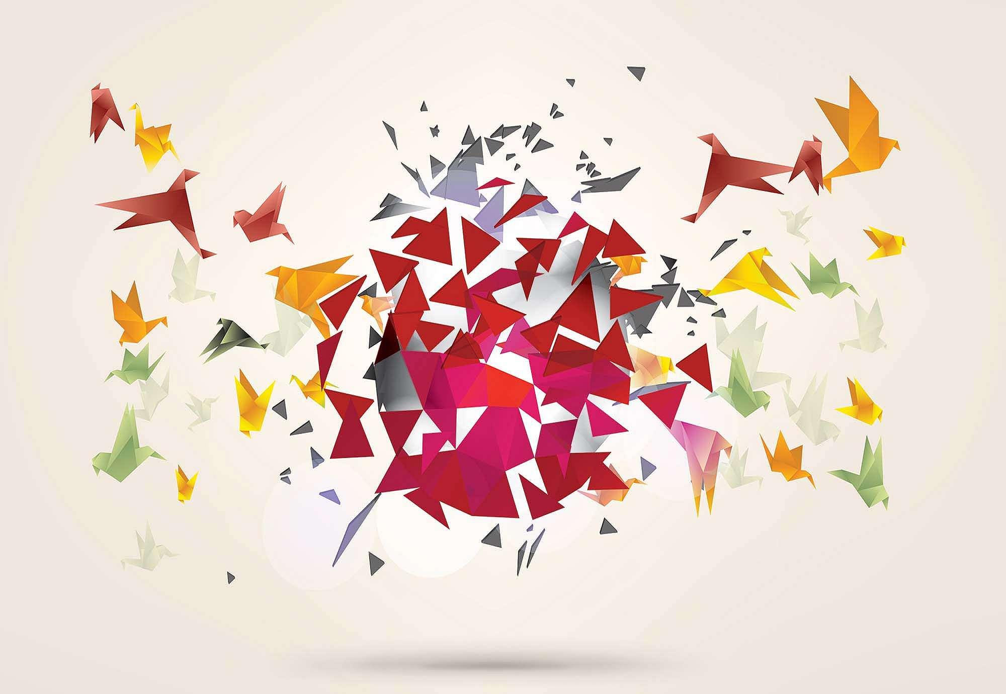 Fali poszter origami madár mintával