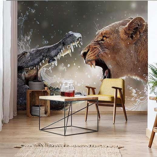 Fali poszter, oroszlán és krokodil csatája valahol afrikában