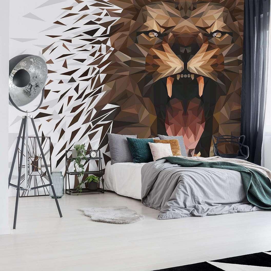 Fali poszter oroszlán mintával modern sokszögekkel kirakva