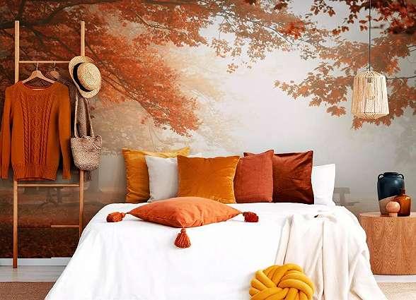 Fali poszter őszies erdei táj mintával