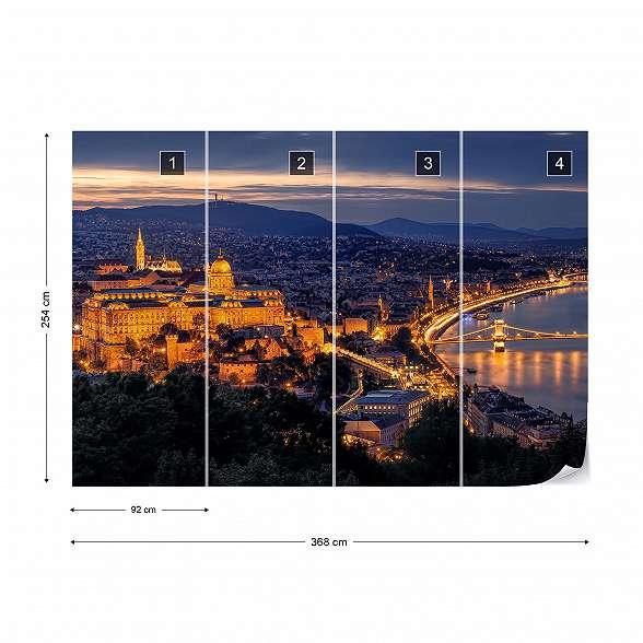 Fali poszter panorámakép Budapest éjszakai fényeivel, előtérben a Budai várral