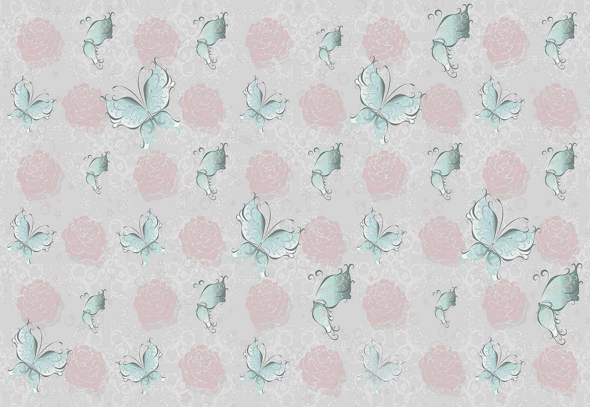 Fali poszter pillangó mintával lányos hangulatban