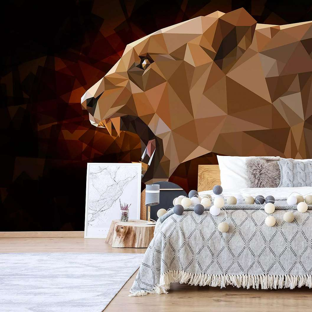 Fali poszter polygon oroszlán mintával modern stílusban