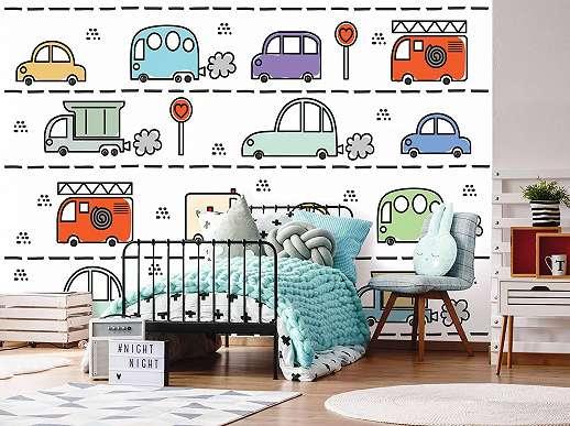 Fali poszter rajzolt auto mintával gyerekszobába