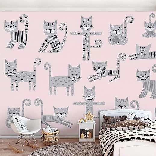 Fali poszter rajzolt cica mintával gyerekszobába