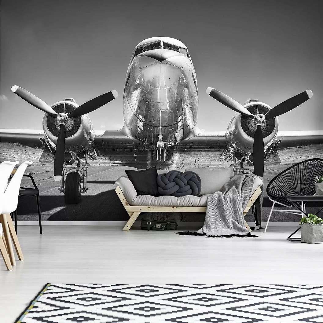 Fali poszter repülő mintával fekete fehér színben