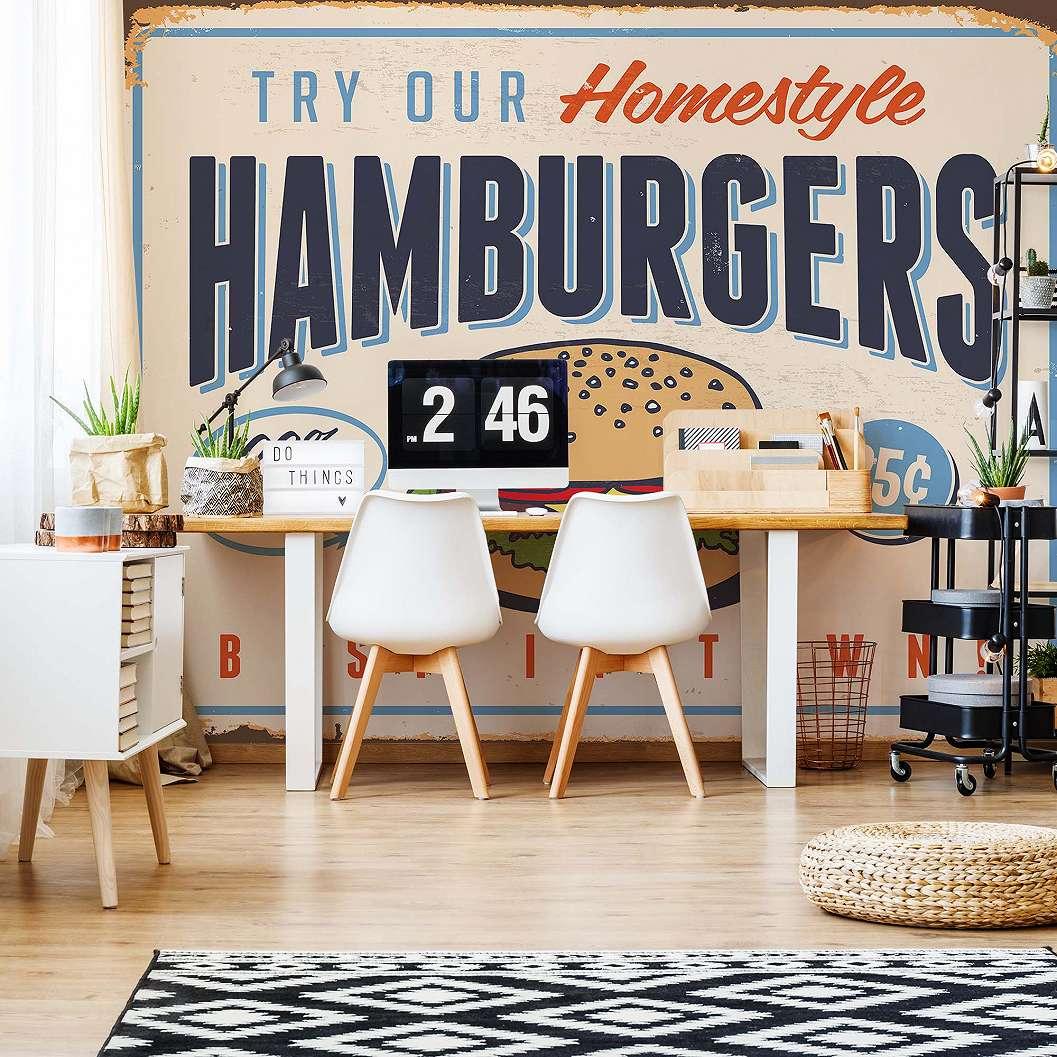 Fali poszter retró vintage hamburger hirdetés mintával
