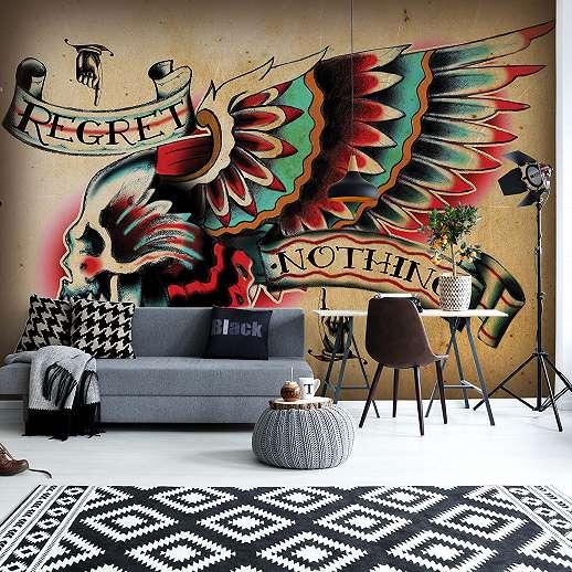Fali poszter rock&roll stílusban színes indián koponya mintával