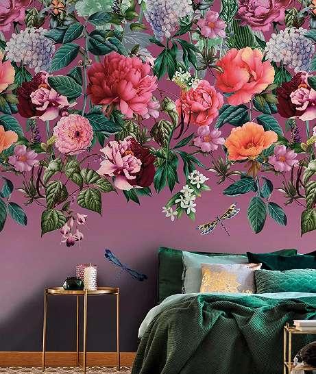 Fali poszter romantikus virág és szitakötő mintával lila rózsaszín színvilágban