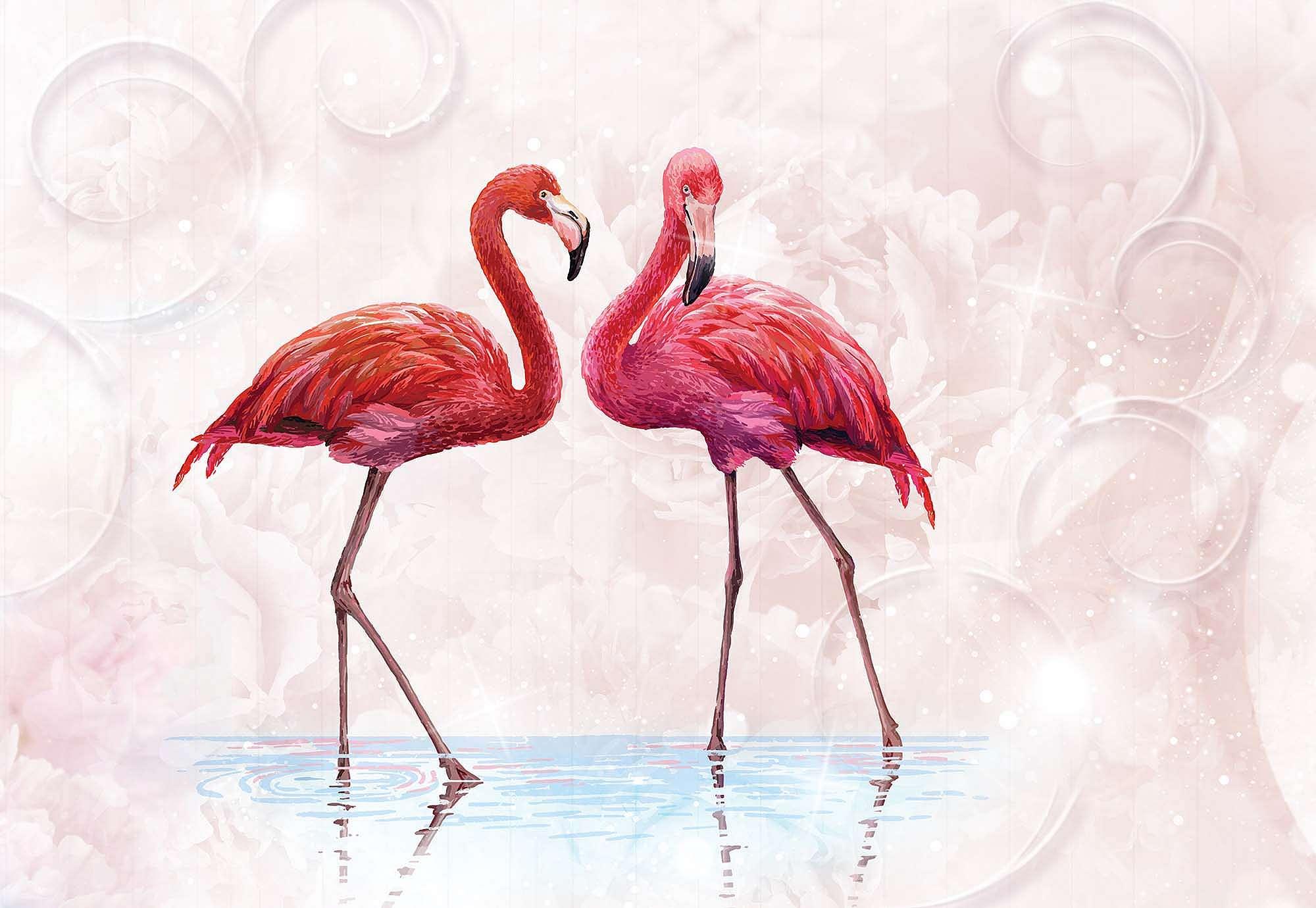 Fali poszter rózsaszín flamingó mintával