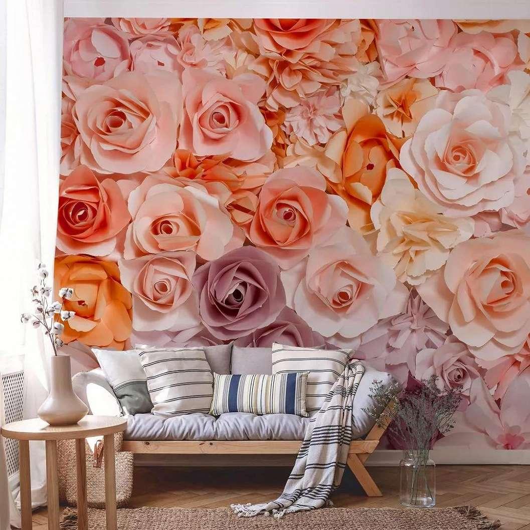 Fali poszter rózsaszín rózsa mintával