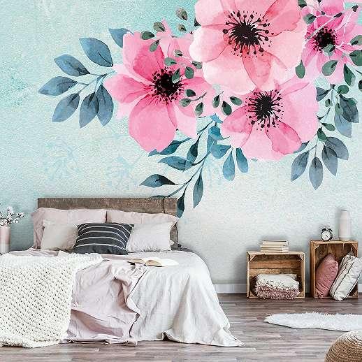 Fali poszter rózsaszín vízfestett hatású virágmintával