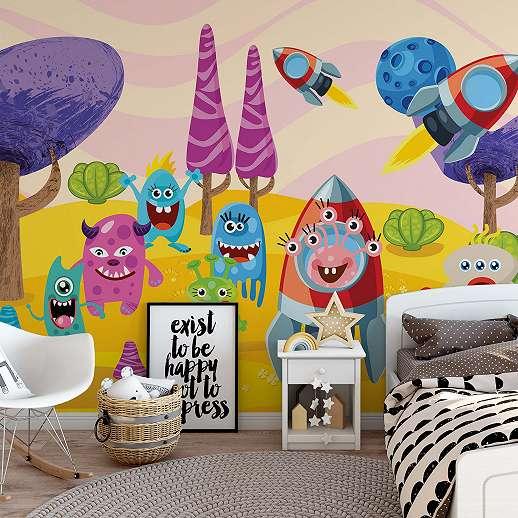 Fali poszter spaces monster vicces figura mintával