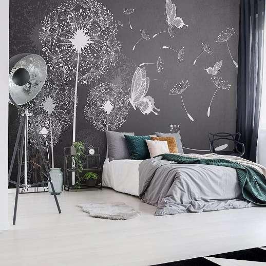Fali poszter stilizált pitypang, pillangó mintával modern stílusban