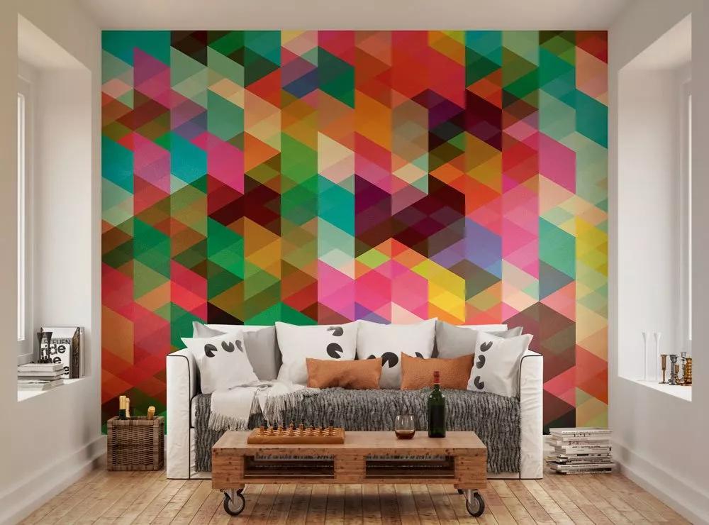 Fali poszter színes geometrikus mintával